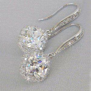 NEW 18K White Gold Cushion Diamond Halo Earrings